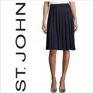 ST. JOHN by Marie Gray Pleated Knit Skirt Santana